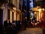 Outdoor Restaurants Near Citadel at Night  Peniscola  Valencia  Spain