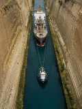 Ships in Narrow Corinth Canal  Corinth  Peloponnese  Greece