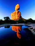 Balanced Rock Reflected in Pool at Sunrise  Arches National Park  Utah