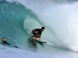 Surfer on Backhand Near Tube  Lagundri Bay  Pulau Nias  North Sumatra  Indonesia