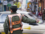 Traffic Policeman Working at Intersection of Sagarnaga and Illampu  La Paz  Bolivia