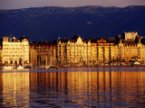 Quai du Mont-Blanc  Sunrise on Lake Geneva  Geneva  Switzerland