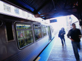 Riding the Brown Line el in the Loop  Chicago  Illinois