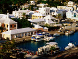 Waterfront Houses and Boats at Dock  St George's Island  St George's Parish  Bermuda