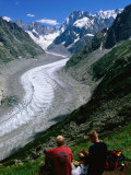 Montenvers Mer de Glace with Hikers  Chamonix  Rhone-Alpes  France