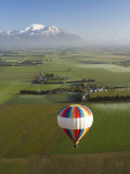 Hot-Air Balloon near Methven with Mountains in Distance  New Zealand