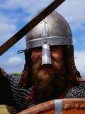 Viking in Battle Dress at Foteviken Viking Market  Skane  Sweden
