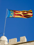 Valencian Flag Flying from Torres de Serranos  Central  Valencia  Spain