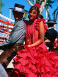 Feria de Abril Horseman with Girl in Traditional Dress  Sevilla  Andalucia  Spain