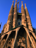 Western Facade of Gaudi's Sagrada Familia  Barcelona  Catalonia  Spain