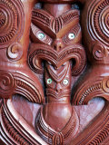 Detail of Carving on Entrance to Takitimu Marae Meeting House  Wairoa  New Zealand