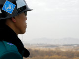 South Korean Rok Soldier in Joint Security Area Looking to the North Across Dmz  Seoul  South Korea