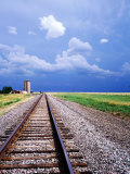 Railroad Tracks and Approaching Thunderstorm  Amarillo  Texas