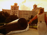 Cannons Facing the Harbour with Hotel Nacional Behind  Havana  City of Havana  Cuba