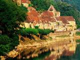 Village Reflections in Dordogne River  Evening  La Roque Gageac  Aquitaine  France
