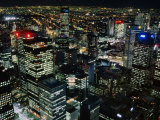 City Buildings at Night from Above  Melbourne  Victoria  Australia
