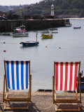 Deck Chairs Facing the Harbour  St Ives  Cornwall  England
