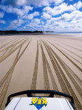 4WD and Tracks on Beach  Queensland  Australia