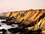 Historic Lighthouse on Coastal Cliffs  Point Arena  California