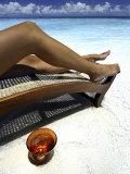 Woman Sunbathing on Beach  Kandholhudu  Ari Atoll  Alifu  Maldives