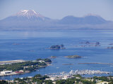 Town with Mt Edgecumbe in Background  Sitka  Alaska
