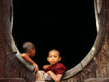 Two Young Novice Monks at Monastery Window  Myanmar