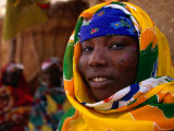 Woman in Traditional Dress with Tribal Face Markings  Niger