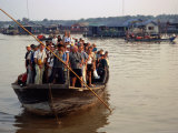 Tourists Crammed on Boat  Tonle Sap Lake  Phnom Penh  Cambodia