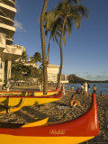 Outriggers on Waikiki Beach  Oahu  Hawaii