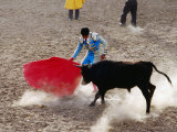 Young Bullfighter Performing in Bullring During Festival of the Holy Cross  Yanque  Arequipa  Peru