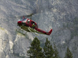 Rescue Helicopter in Front of One of Yosemite Valley&#39;s Big Walls