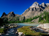 Mt Huber on Right and Wiwaxy Peaks in Lake O'Hara Area  British Columbia  Canada