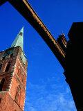 Spire of Jacobikirche Under Arch Spanning Engelsgrube  Lubeck  Schleswig-Holstein  Germany