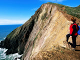 Hiker on Cliffs Above Tennessee Valley Beach  Marin County  California