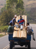 Men Riding on Back of Truck Carrying Timber  Near Esteli  Nicaragua