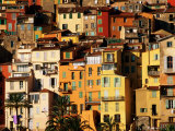 Colourful Houses Clustered on Hillside  Menton  Provence-Alpes-Cote d'Azur  France