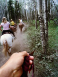 Family on Horseback Ride  Jasper National Park  Alberta  Canada