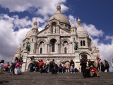 People on the Steps in Front of Basilique de Sacre Coeur in Montmatre  Paris  Ile-De-France  France