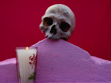 Detail of Tomb with Skull and Candle at Muna  Yucatan  Mexico