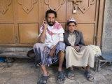 Yemenite Man and Boy Sitting in Doorway  San'a  Yemen
