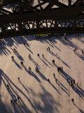 People Below the Eiffel Tower  Paris  Ile-De-France  France
