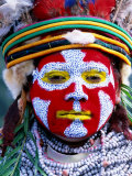 Sing Sing Group Member with Face Paint  Mt Hagen Cultural Show  Papua New Guinea