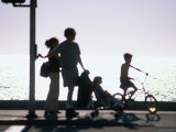 Family Takes an Early Evening Stroll along Redondo Beach in Los Angeles  Los Angeles  California