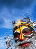 Man with Painted Face at Enga Cultural Show  Wabag  Enga  Papua New Guinea
