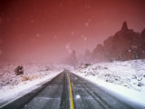 Road with Falling Snow  Arches National Park  Utah
