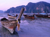 Longtail Boats on Ao Ton Sai Beach at Low Tide  Ko Phi-Phi Don  Krabi  Thailand