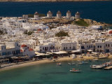 Harbour Town with Disused Windmills in Distance  Mykonos Island  Southern Aegean  Greece