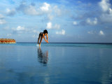 Girl Diving into Pool  Mafushivaru  Ari Atoll  Alifu  Maldives