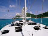 Deck  Mast and Rigging of Bare Boat Charter Catamaran  Tortola  Virgin Islands