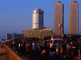 Evening Crowds on Galle Face Green with World Trade Centre in Background  Colombo  Sri Lanka